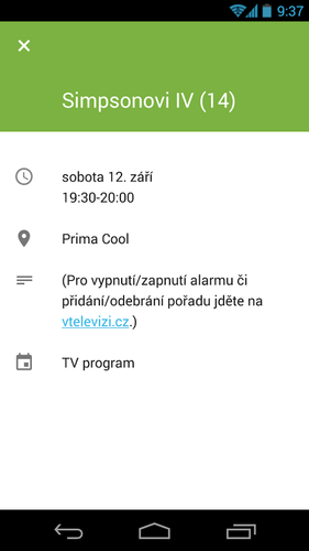 TV program v Androidu
